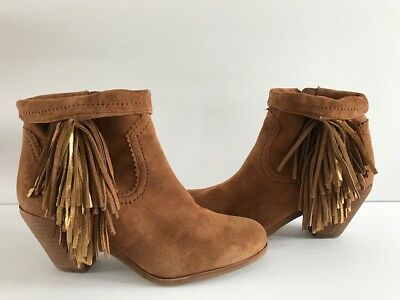 55b06ad84c9f96 Sam Edelman Womens Louie Fringe-Trimmed Ankle Boot Saddle Brown Suede Size 8