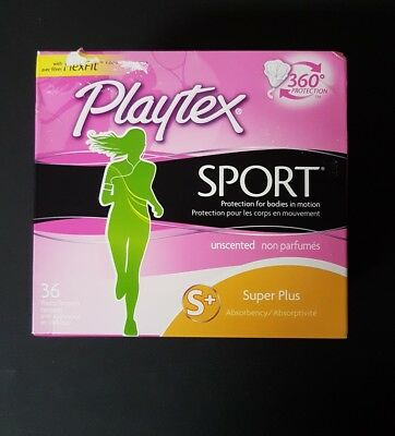 Playtex Sport Tampons Super Plus Unscented 36 Count Plastic NEW