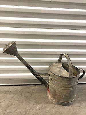 ANTIQUE VTG.1940's FRENCH GALVANIZED STEEL XLARGE WATERING CAN /3 GALLON CAP. 3