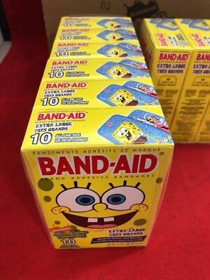"""NEW CASE OF 24 Boxes of 10 (240) Band-Aid XL Knee & Elbow SpongeBob 1.75""""x4"""""""
