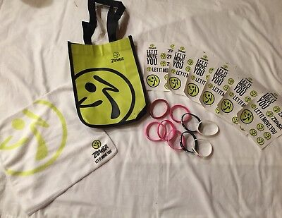Zumba NEW 50 Stickers (5 Page) Towel Bag 9 Bracelet set lot Hand Washcloth Sweat