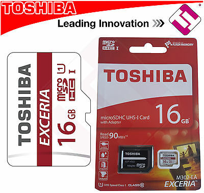 Card Micro Sdhc Uhs-I Toshiba 16 Gb Class 10 90Mbs With Adapter M302 Exceria