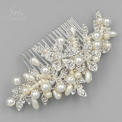 Bridal Hair Comb Pearl Crystal Headpiece Hair Clip Wedding Accessories 09971 S