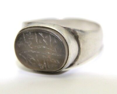 Gorgeous Ottoman Solid Silver Intaglio Ring. Inscribed Gem Stone.   2V93