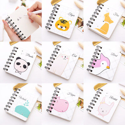 Cute Animal Coil Spiral Notebook Journal Daily Book Pocket Paper Memo Notepad
