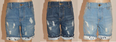 Next Boys Girls Blue Denim Frayed Distressed Look Jean Shorts Age 3 5 Years A28