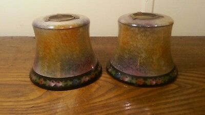 Vintage Pair of  frosted glass lamp shade hand Painted Bell Shaped
