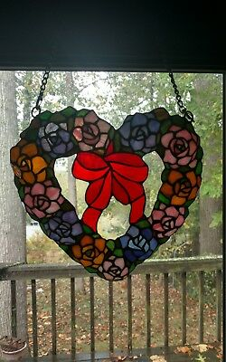 Vintage Leaded Stained & Slag Glass Window Floral Heart With Bow