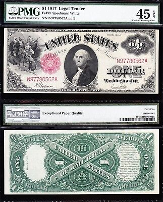 Awesome HIGH GRADE $1 1917 SAWHORSE US Note! PMG 45 EPQ! FREE SHIP! N97780562A