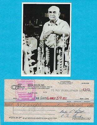 Leo Fender G&L Music Sales 1985 Autographed Signed Business Check & HP Photo