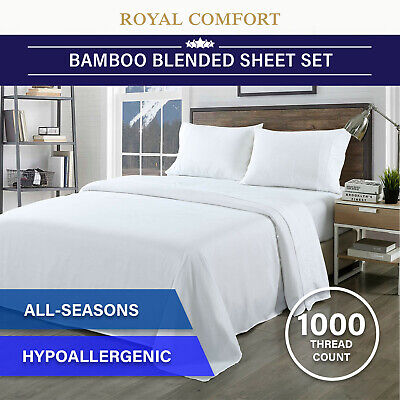 Royal Comfort Bamboo Blended Sheet & Pillowcases Set 1000TC Ultra Soft Bedding