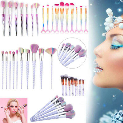 Face 10 Pcs Makeup Brushes Blusher Unicorn 1 Set Foundation Concealer Powder US