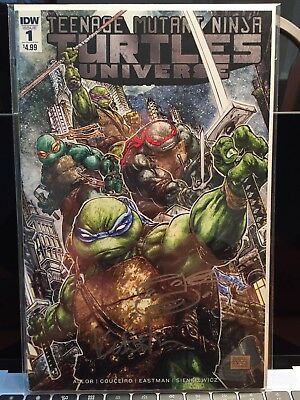 Teenage Mutant Ninja Turtles Universe # 1 Cover And Signature By Kevin Eastman