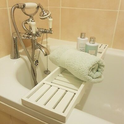 WOODEN HAND Made Finished White Over The Bath Tub Bar Tray Bridge ...