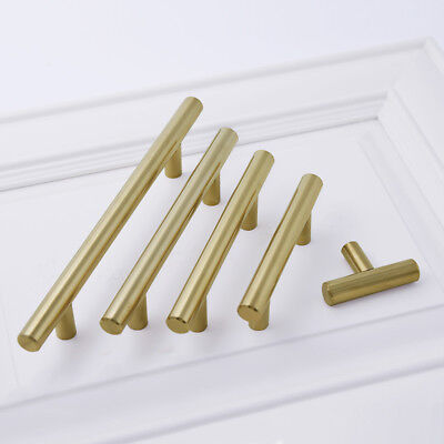 Gold Br Kitchen Cabinet Handles 2 T Bar Bathroom Drawer Pull Cc 5