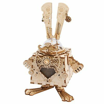 ROBOTIME 3D Laser Cut Wooden Puzzle Music Box Kit DIY Robot Toy RoboBunny Craft