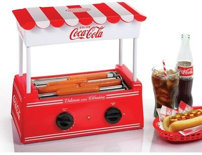 Nostalgia Coca-Cola Hot Dog Cooker Roller Grill Bun Warmer Countertop Machine