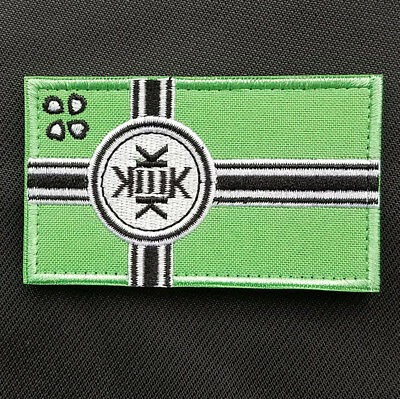 Kek Flag Kekistan Embroidered Hook Loop Patch Tactical Morale Badge Green Gray