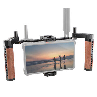 """CAMVATE 5""""& 7"""" LCD Monitor Cage w/ Wooden Handle Height Adjustable DSLR Camera"""