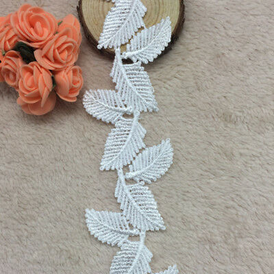 6 yards White Cord Rose Flower Satin Leaf Lace Trim//dress//sewing//sew on//tool T43