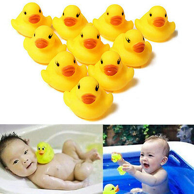 Lot 1//5//10//20Pcs Yellow Baby Children Bath Toys Cute Rubber Squeaky Duck Ducky
