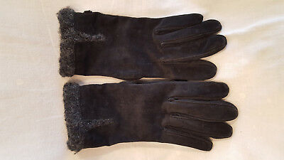 Black suede Leather polyester knit lined insulated gloves Nine West L