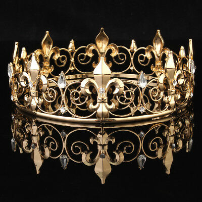 Men's Imperial Medieval Fleur De Lis Gold King Crown 8.5cm High 18cm Diameter US