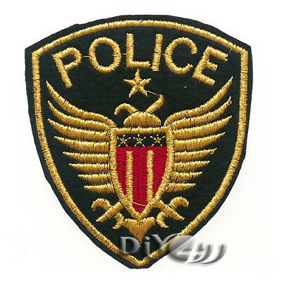 Gold Letter Police Badge Patch Sew Iron on Applique Coat Suit Craft Embroidered