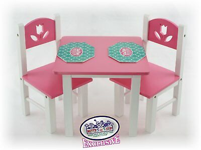 Mattyu0027s Toy Stop 18 Inch Doll Furniture Pink/White Wooden Table and Chairs Set & DOLL TABLE AND Chair Set American Girl Dolls 18