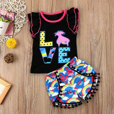 US Lovely Toddler Kid Baby Girls Casual Sleeveless Top T-shirt Pants Outfits Set