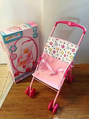 """Baby Doll Stroller Pink//Flowers 18/"""" Doll  3 Age New"""