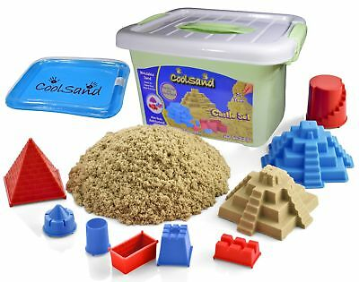CoolSand Deluxe Bucket Kinetic Play Sand With Inflatable Sandbox – Castle Set