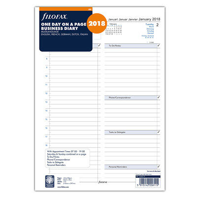NEW Filofax A4 One Day On A Page 2018 Business Diary Refill
