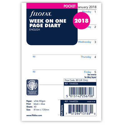 NEW Filofax Pocket Week On One Page 2018 Refill
