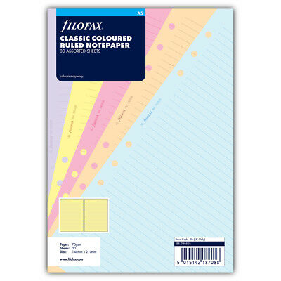 NEW Filofax A5 Classic Coloured Ruled Notepaper Refill