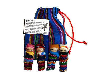 Worry Doll - 4 x BIG WORRY DOLLS in TEXTILE BAG - Hand Made in Guatemala - BLUE