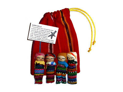 Worry Doll - 4 x BIG WORRY DOLLS in TEXTILE BAG - Hand Made in Guatemala - RED