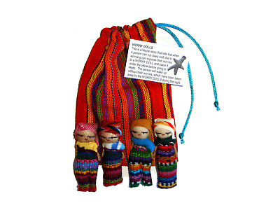 Worry Doll - 4 x BIG WORRY DOLLS in TEXTILE BAG - Handmade in Guatemala - ORANGE
