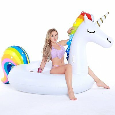 Pool Float, Giant Inflatable Unicorn Pool Party Vacation Beach Toys for Adults