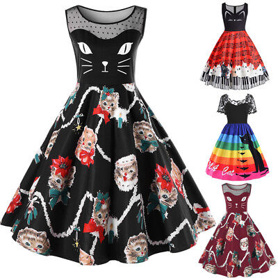 Womens Flowers Cat Printing Lace Short Sleeve Party Dress Vintage Lace Dress Hot