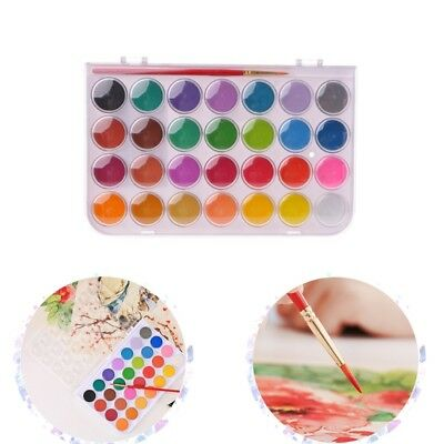 12/16/24/28/36 Colors Solid Watercolor Cake Painting Box Water Brush Pens Set