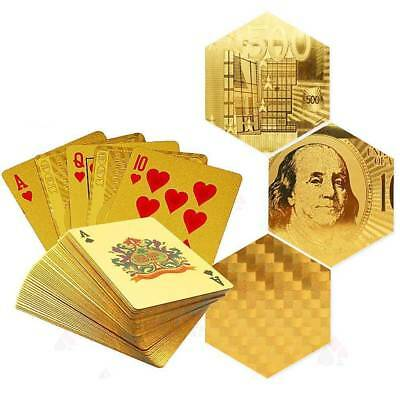 Waterproof 24K Gold Foil Plated Cover Poker 54 Playing Cards Table Game Luxury