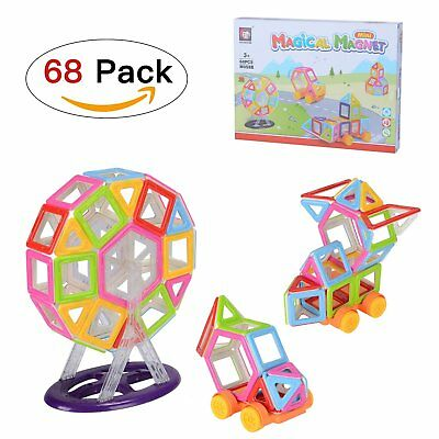 Lennov 68 PCS Magnetic Building Blocks Set with Wheel , Magnetic Tiles,