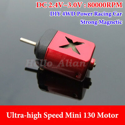 DC3V 80000RPM Ultra-high Speed Strong Magnetic Mini 130 Motor DIY 4WD Racing Car