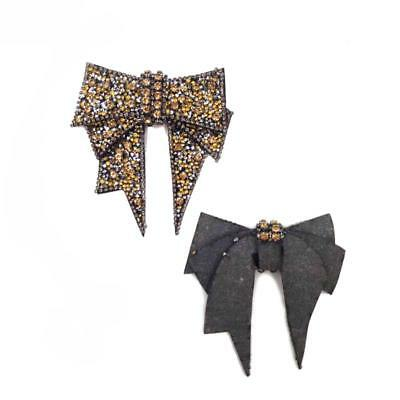 2Colors Vintage Style Tone Rhinestone Crystal Bow-knot Shoes Clips Decor POP