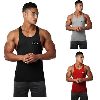 Men Sleeveless Bodybuilding Shirt Tank Top Tee Gym Singlet Fitness Sport Vest AU