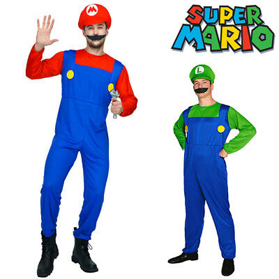 Mens Super Mario Luigi Brothers Nintendo Fancy Dress Up Party Costume + Hat