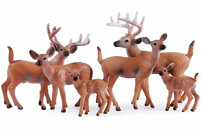 Miniature Deer Family Toy Figurines - Set of 6 Figures, White-Tailed 2 Bucks, 2