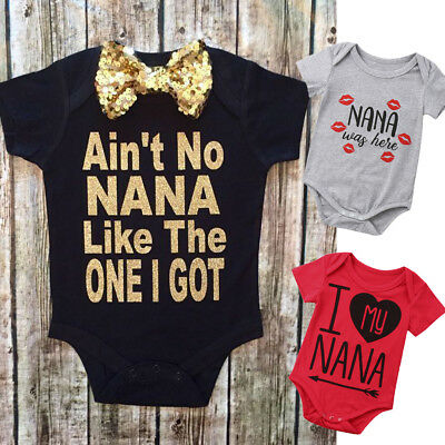 Newborn Kids Infant Baby Boy Girl I My Nana Clothes Jumpsuit Romper Outfit Set