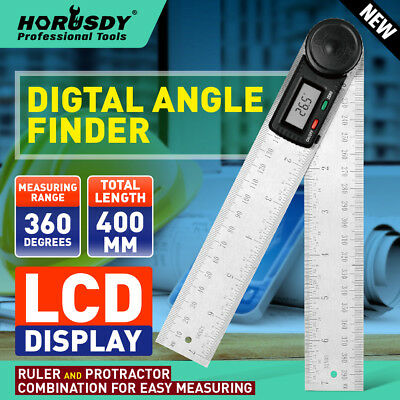200mm Digital Angle Finder Ruler Protractor Measure Meter Stainless Steel 0-360°